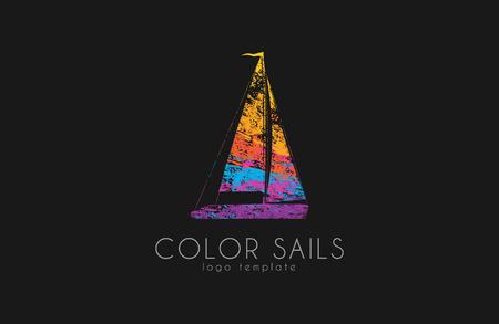 sails: Sails . Color sails. Boat . Sailing design. in grunge style. Creative Illustration