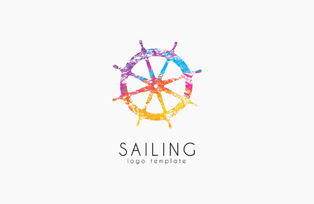 schooner: Helm . Sailing design. Color design. Helm in grunge style. Illustration