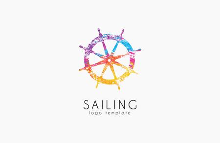 helm: Helm . Sailing design. Color design. Helm in grunge style. Illustration