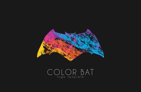 murcielago: logotipo del palo. bate de color. dise�o de logotipo de Creative