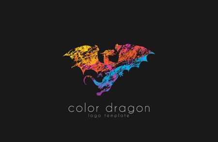 Dragon Logo. Color dragon logo. Creative logo design. Animal logo. Mystic logo. Magic logo. Иллюстрация