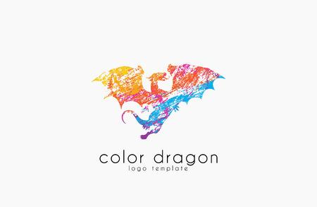 Dragon Logo. Kleur draken logo. Creatief logo ontwerp. Animal logo. Mystic logo. Magic logo. Logo