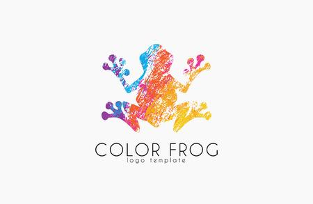 Frog logo. Color frog logo. Creative logo design. Animal logo. Ilustração