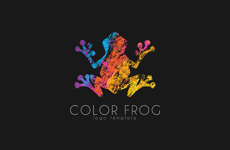 Frog logo. Color frog logo. Creative logo design. Animal logo. Ilustracja