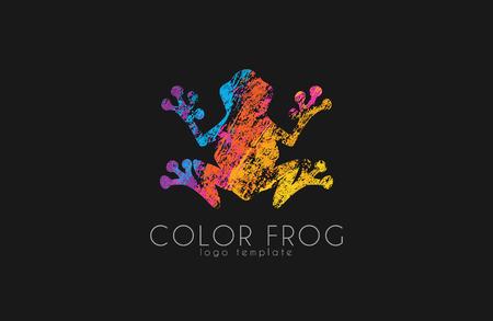 rana caricatura: logotipo de la rana. logotipo de la rana de color. diseño de logotipo creativo. Logotipo animal.