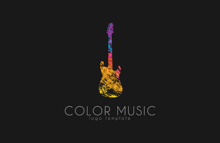 logo music: Guitar. Colorful logo. Rainbow guitar. music logo. Creative logo