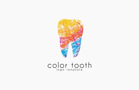 Vector del modelo del logotipo. Siluetas de Diente con Ondas coloridas abstractas. Logo de la Clínica Dental
