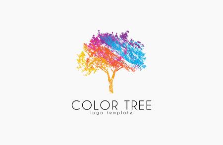 Tree logo. Creative logo. Nature logo. Color tree logo design. Colorful logo Stock Illustratie