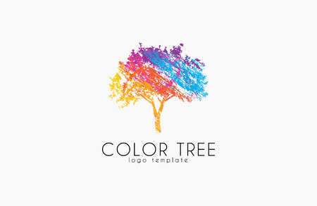 Logo drzewa. Logo Creative. Logo natury. Projekt logo koloru drzewa. Kolorowe logo