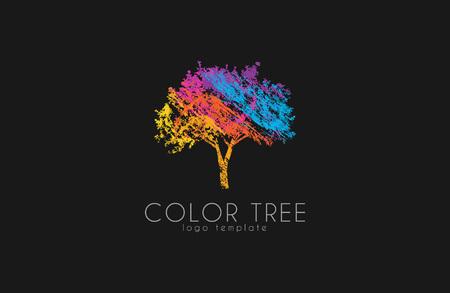 Tree logo. Creative logo. Nature logo. Color tree logo design. Colorful logo Ilustração
