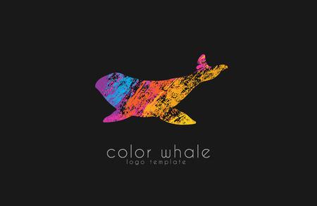 baleen: Whale logo. Creative logo. Sea logo. Water logo design. Ocean logo. Animal logo.