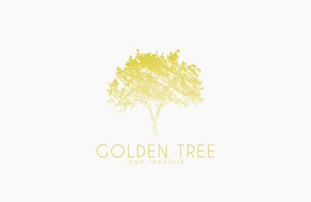 Tree logo. Golden tree. Nature logo design. Beautiful logo. Creative logo Иллюстрация