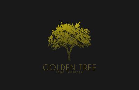 ツリーのロゴ。ゴールデン ツリー。自然のロゴデザイン。美しいロゴ。創造的なロゴ