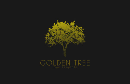 logotipo de árbol. Árbol de oro. diseño del logotipo de la naturaleza. Hermoso logotipo. logotipo de Creative