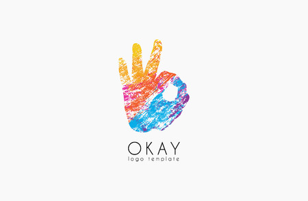 okay: Okay logo. Ok logo design. Creative logo design. Colorful logo.