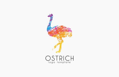 Ostrich logo design. Creative logo. Bird logo. Colorful logo. Animal logo. Ilustração