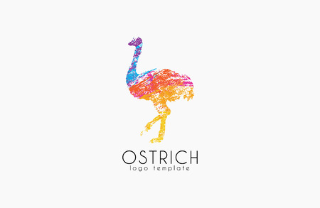 jogging in nature: Ostrich logo design. Creative logo. Bird logo. Colorful logo. Animal logo. Illustration