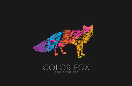 Fox . Color fox design. Animal . Illustration
