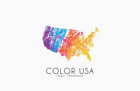 USA . Color map of USA. America  design.