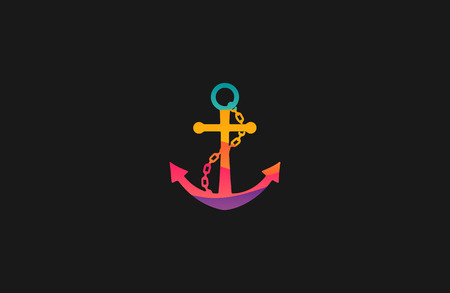 navy pier: Anchor . Rainbow . Company . Colorful Illustration