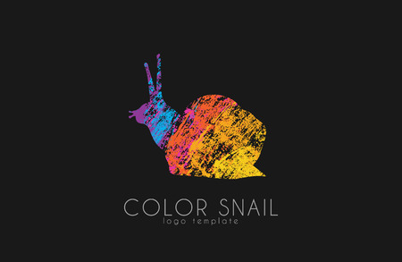 Colored stylized snail icon set in a flat style. Vector .