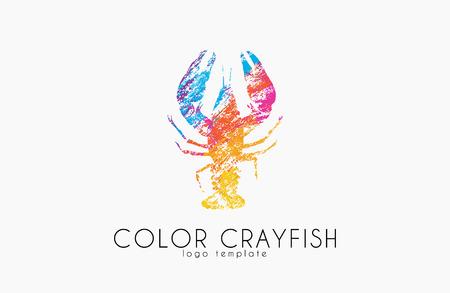 ザリガニ。ザリガニの色デザイン。魚介類。  イラスト・ベクター素材