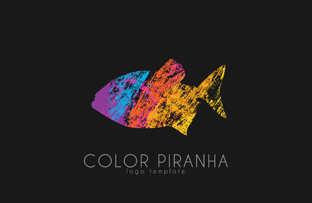 slashing: Piranha design. Fish . color piranha.