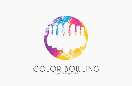 hit tech: Bowling game . Color bowling. Sport logo Illustration