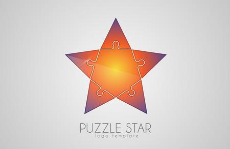 Puzzle Icono De La Estrella Multicolor. Vector Logo Plantilla De ...
