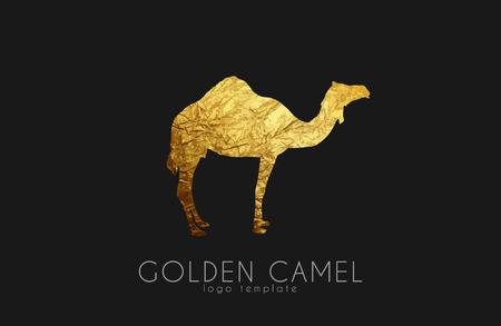 Logo Camel. Chameau d'or. Logo animal. Chameau élégant