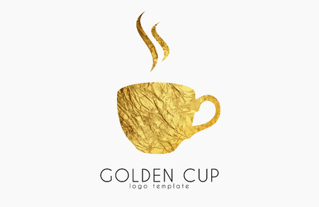 Golden tea cup. golden cup. coffee cup logo. Illustration