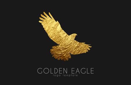 palomas volando: logotipo del águila. Águila dorada. logotipo del pájaro de oro