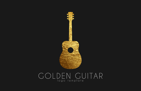logo music: golden gutar logo. music logo. guitar logo design