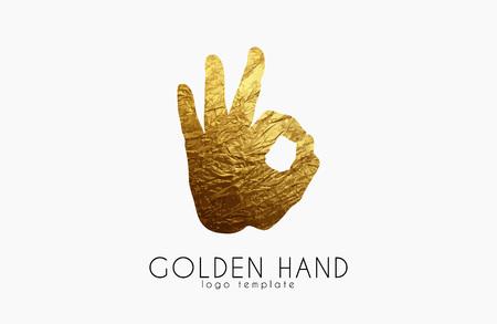 insignia de la mano de oro. insignia de la mano. De acuerdo símbolo Ilustración de vector
