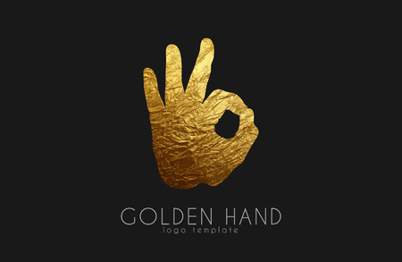 logo d'or à la main. logo de la main. symbole Okay