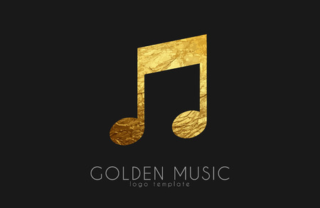 logo music: Music note. Golden note. Music logo design