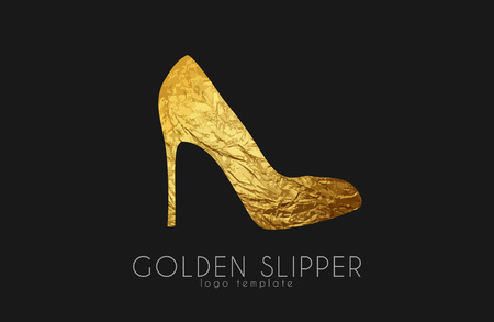 slipper: Golden slipper. Princess slipper. Elegant slipper logo design. Fashion logo