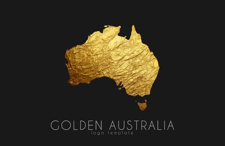 queensland: Australia map. Golden Australia logo. Creative Australia logo design