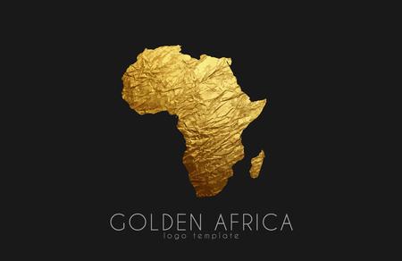 Afrika. Gouden Afrika logo. Creatief Afrika logo ontwerp