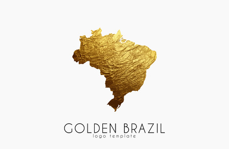 delineation: Brazil map. Golden Brazil logo. Creative Brazil logo design