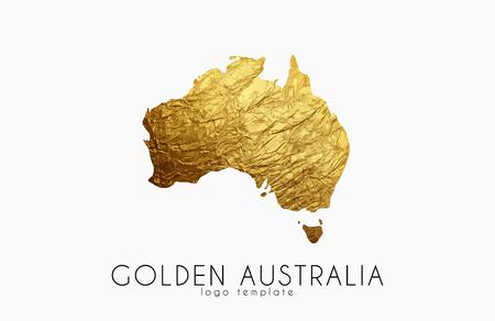 Australia map. Golden Australia logo. Creative Australia logo design