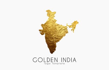 India map. Golden India logo. Creative India logo design Illustration