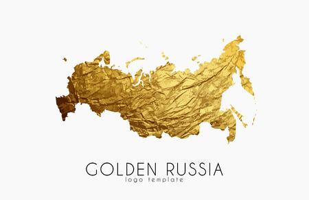 ロシアの地図。ロシアのロゴ。創造的なロシアのロゴデザイン