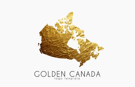 Canada map. Golden Canada logo. Creative Canada logo design
