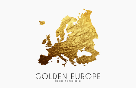 europe: Europe map. Golden Europe logo. Creative Europe logo design