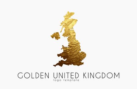 mercator: United Kingdom map. Golden United Kingdom logo. Creative United Kingdom logo design