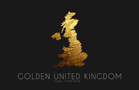 United Kingdom map. Golden United Kingdom logo. Creative United Kingdom logo design