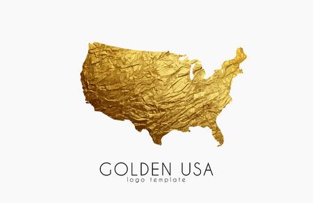 USA map. Golden USA logo. Creative USA logo design