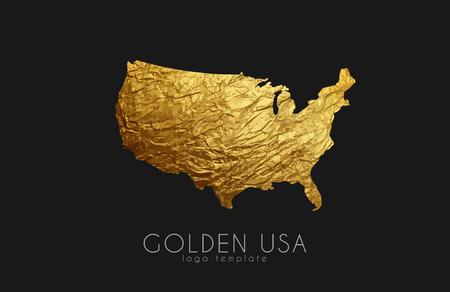 modernity: USA map. Golden USA logo. Creative USA logo design