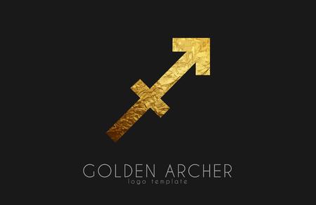 archer: Golden archer. Golden zodiac sign. Archer zodiac